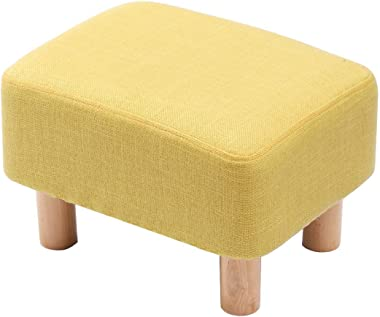 Footrest Footrest Footrest Ottoman Pouf Rectangular Padded Chair with 4 Legs in Beech Wood Removable Cover (Linen Cover-Yello