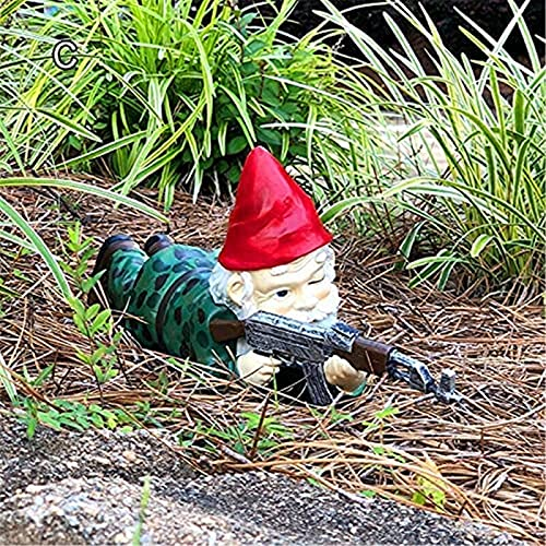 DFYOP Funny Army Garden Gnome Statue, Military Garden Gnome with an AK47   Funny Army Statue, Resin Cartoon Sculpture Ornament, Novelty Gift Decoration in Outdoor Garden Lawn Yard