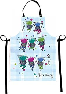 Scottish Thistle Apron. Scottish Gift with Unique Artwork on Plaid Background for Kitchen Cooking Baking BBQ or Cleaning
