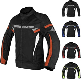 ALPHA CYCLE GEAR BREATHABLE BIKERS RIDING PROTECTION MOTORCYCLE JACKET MESH CE ARMORED (ORANGE BOSS, XXXX-LARGE)