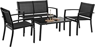 Patio Conversation Sets,Patio Furniture Outdoor Table and Chairs 4 Piece Patio Set with Metal Patio Furniture Tempered Glass Tabletop Waterproof Textilene for Outside Backyard Lawn Pool Deck Balcony