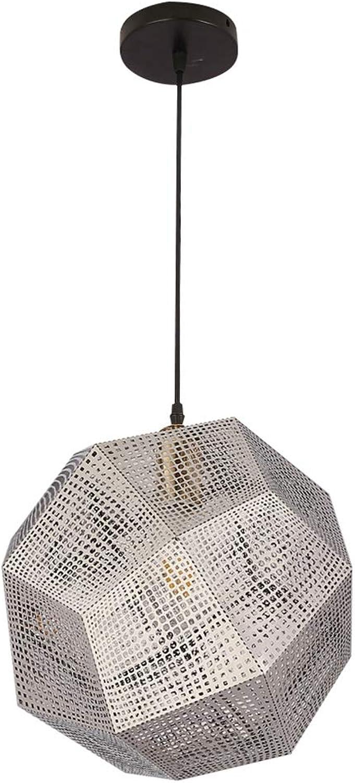 WFTD Modernes Eisenkunst-Lauflicht, Multifaceted Sphere Hollow Modellierung Restaurant Kronleuchter E27 E26 Lampenhalter, Geeignet Für Schlafzimmer-Studie Restaurant Café-Hotel Hotel,Chrome,25Cm