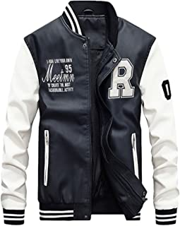 Mordenmiss Men's Basic Leather Letter Man Baseball Varsity Jacket Bomber Outwear