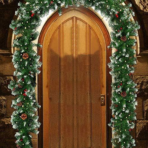 1.8m Ghirlanda di Natale con Pino e Frutti Rossi,Ghirlanda Porta d'ingresso di Natale con Luci a LED,Luminoso Decorazione Natale per Camino Scale Porta Esterno Alimentazione a Batteria (Luci a 30 led)
