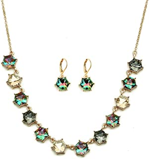 Colife fashion Crystal Necklace and Dangle Earrings Jewelry Sets for Women with Red Green Purple Blue and Multicolor to Ch...