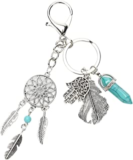 Bullidea Keychain Holiday Style Keyring Gemstone Palm Feather Pendant Keychain Decor Jewelry For Women Girls