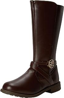 حذاء برقبة للفتيات - حذاء ركوب لمنتصف الساق (للأطفال الصغار/الأطفال الكبار)، مقاس 1، بني