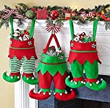 ANSUG 3PCS Christmas Elf Boots Bags, Elf Pants Stocking Wine Bottle Bag Hanging Candy Gift Bag with 10PCS Hooks for Xmas Tree Party Holiday Decoration