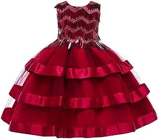 GFDGG 2019女の子のドレスプリンセスドレス子供のスカートスカートクリスマススカート子供ドレス (色 : 赤, サイズ : 140cm)