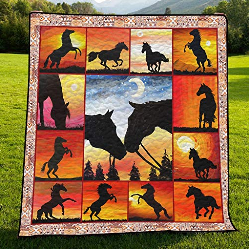 Amazing Horse Collection Frames All Season Quilts Blanket Comforters Super King - Queen - Twin Size - Best Decorative for Bed, Couch, Sofa, Chair, Swing, Daybed, Home Decor