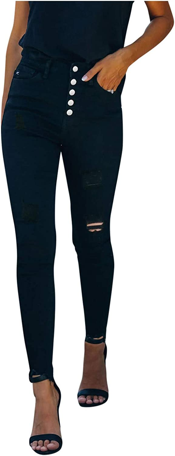 Ripped for Women Fashion,Ladies Classic Distressed Five Buttons Hole Slim Fit Denim Pants Calf Length Trousers