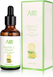 ANAiRUi Vitamin C Serum with Hyaluronic Acid for Anti Aging Anti-Wrinkle Brightening and Restore & Boost Collagen 1.76 oz