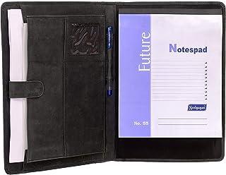KomalC Leather Business Portfolio Folder Personal Organizer, Luxury Full Grain Leather Padfolio, Leather Folder (Charcoal Black)