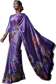 light purple Indian Designer Digital Print Sari Soft Satin Crepe Shiny Formal Cocktail Saree Blouse 6078