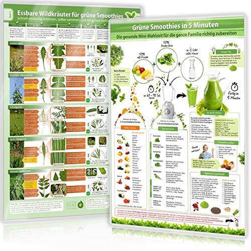 [2er Set] Essbare Wildkräuter für Grüne Smoothies (DINA4) Teil 1 und Grüne Smoothies in 5 Minuten (DINA4) - laminiert (2020): Schnell eindeutig ... selber sammeln und mit gutem Gefühl genießen)