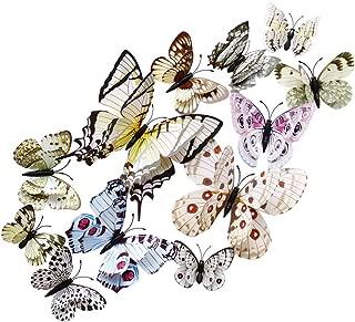 Toyvian 12 UNIDS 3D Mariposa Pegatinas de Pared Extraíble de Doble Cubierta Simulación Mariposa Mural Tatuajes de Pared para DIY Dormitorio Decoración