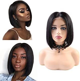 Anself 10'' 4×4 Lace Front Closure Bob Wig Soft Short Straight Natural Black Wig Human Hair Wigs 150% Density Hair Extens...