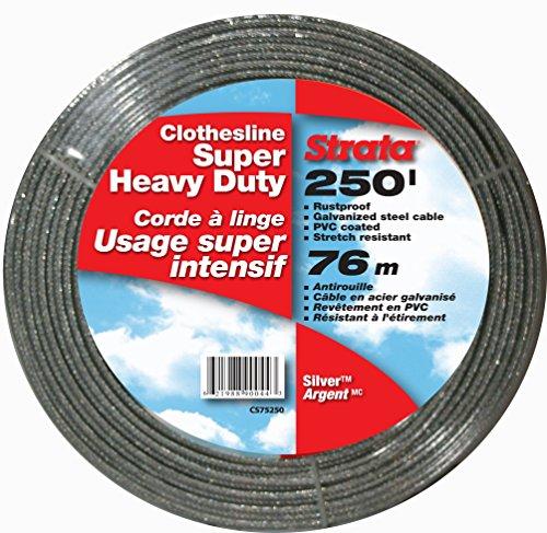 Strata 250 Silver Clothesline - Super Heavy Duty Galvanized Steel Cable PVC Coasting