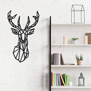 Fotodekora Cabeza de Ciervo Geométrico Escultura de Lineas Negras para Colgar en Pared | Diseño geométrico | Arte de Pared | Animales Origami