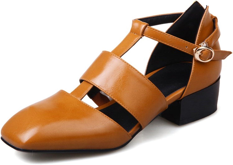 Vitalo Women's Classic T-Strap Mid Block Heel Square Toe Dress Court shoes