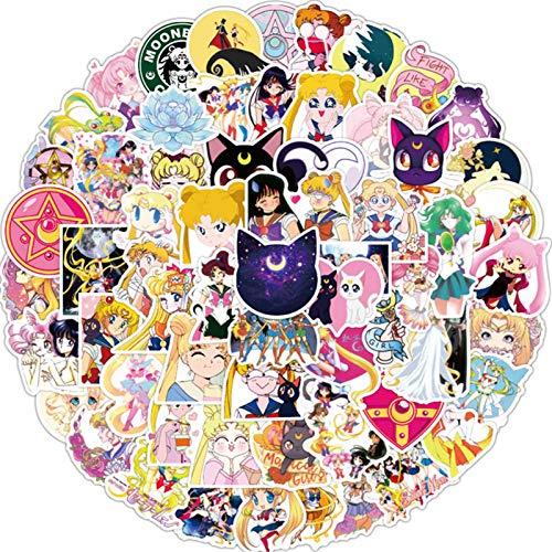 Leotiee Sailor Moon Anime Stickers Set, 100 PCS Vinyl Waterproof Stickers Cartoon Graffiti Decals for Laptop, Skateboard, Water Bottles