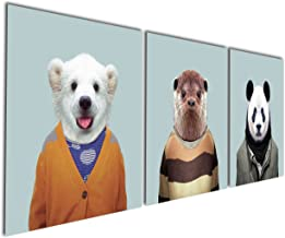 Gardenia Art - Series 11 Animal World Panda Lutra and Polar Bear Canvas Prints Modern Wall Art Paintings Besrs Artwork for Room Decoration,12x12 inch, Stretched and Framed