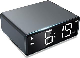 NOKLEAD Réveil numérique à 4 luminosité LED avec Alarme Snooze 12/24 h avec Double Adaptateur et Pile Facile à Utiliser, P...