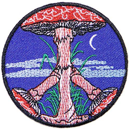 Peace Magic Mushroom Psilocybin Hippie Sign Logo Hippie Retro Biker Jacket T-shirt Vest Patch Sew Iron on Embroidered Badge Custom Gift