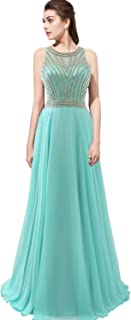 Belle House Women's Beads Sheer Neck Mermaid Evening Dress Pageant Gown