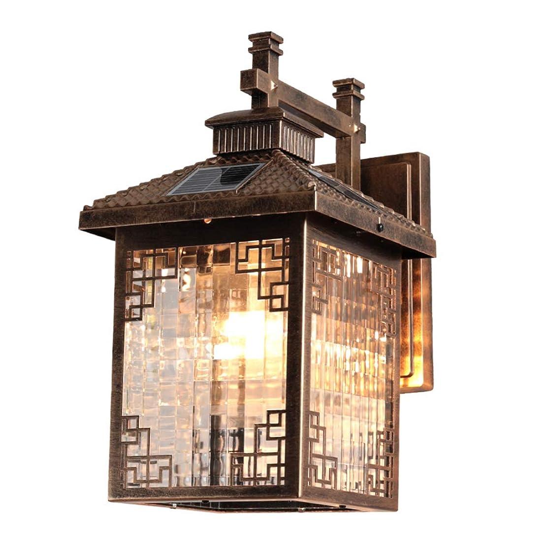 資本創造剪断ソーラーウォールライト屋外、調光ソーラーライト防水ガーデンライト新しい中国のヴィラ屋外外装ドア入り口柱壁ランプブラックブロンズ-bronze