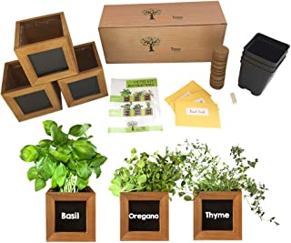 Indoor Herb Garden Kit - Includes 3 Wooden Herb Pots, Internal drip Trays, Soil Pellets, Chalk, Instructions Booklet and B...