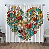 Eos Presents - Cortinas con aislamiento térmico (213,3 x 213,3 cm), diseño con texto 'I Love You', multicolor