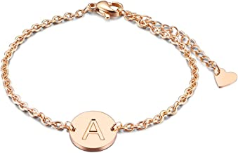 THREE KEYS JEWELRY Rose Gold/Silver Tone Initial Bracelet 316L Stainless Steel Disc Pendant Letter Alphabet(6.5