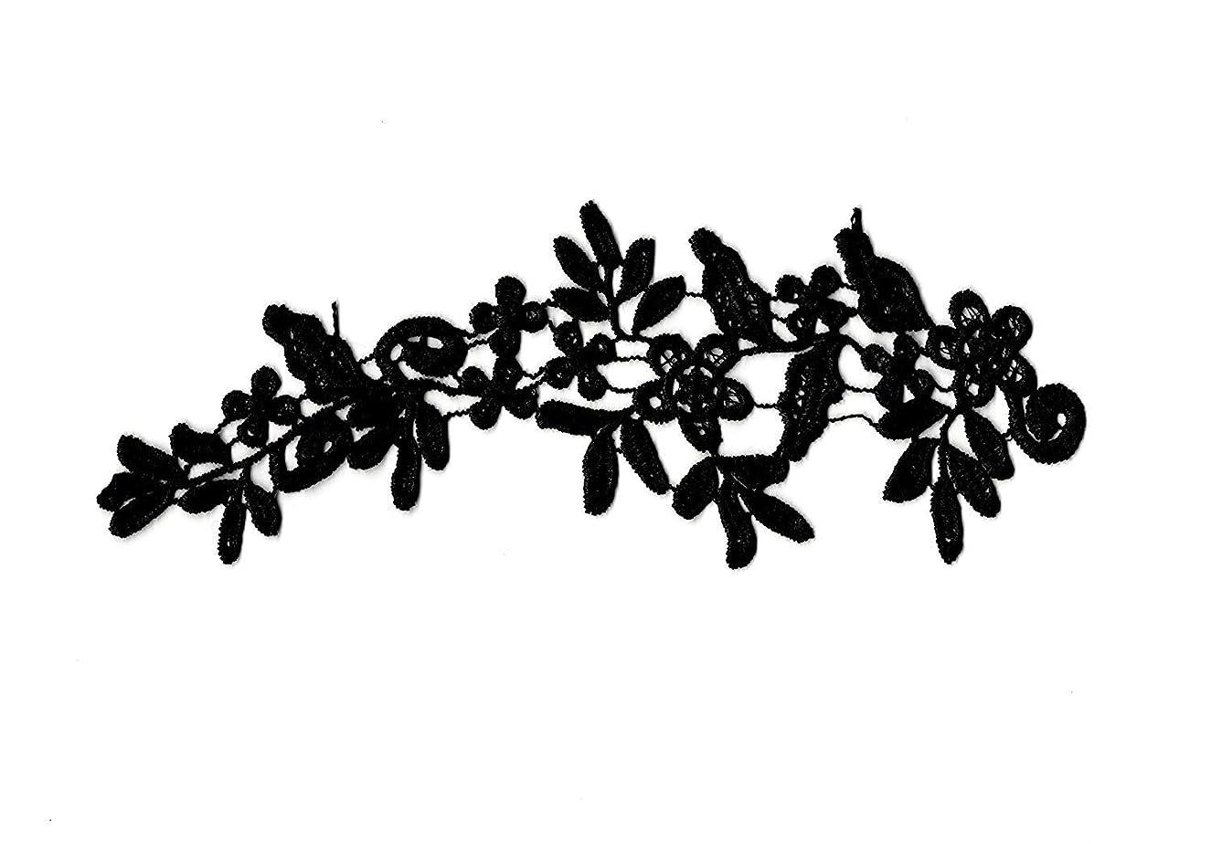 10 Pieces X Black Floral lace Appliques Dress Sewing Black Cotton lace Motifs Black lace appliqués