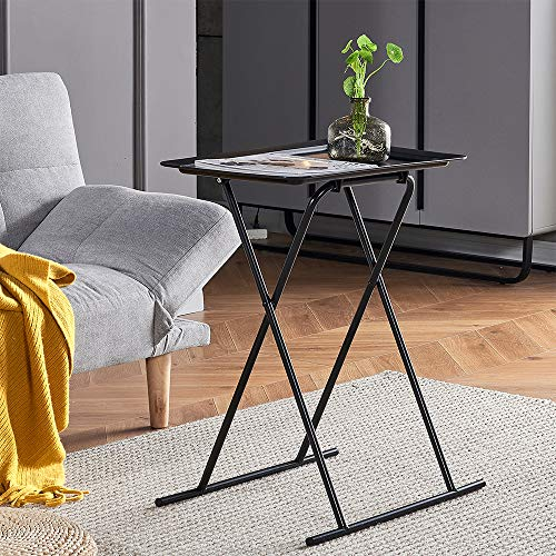 Living Room Small Sofa Side Table Black Folding Coffee Table Snack Tea End Table Beside Table Bedroom for Corner Collapsible Portable Utility Desk for Picnic Camping Metal Frame with Plastic Panel