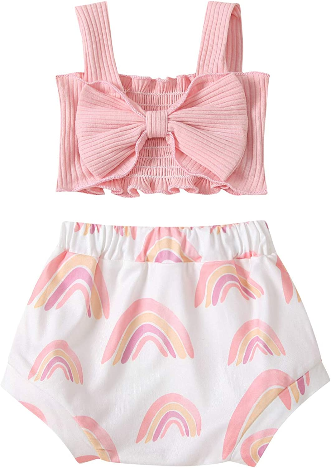 Toddler Girl Clothes Ribbed Bow Halter Crop Top Cute Tank Tops Rainbow Bloomers Shorts Baby Girl Summer Outfit