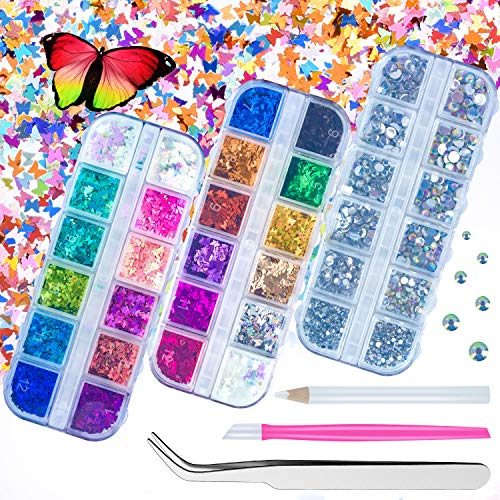 Butterfly Nail Glitter, 24 Colors Acrylic Nails Sequins Flakes with AB Color Rhinestones for 3D Holographic Sparkle Butterfly Nail Art 3 Boxes