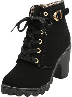 POLP Botines de Tacón Mujer Tacón grueso Botines de tacón alto con cordones Zapatos de plataforma Calzado impermeable Zapa...