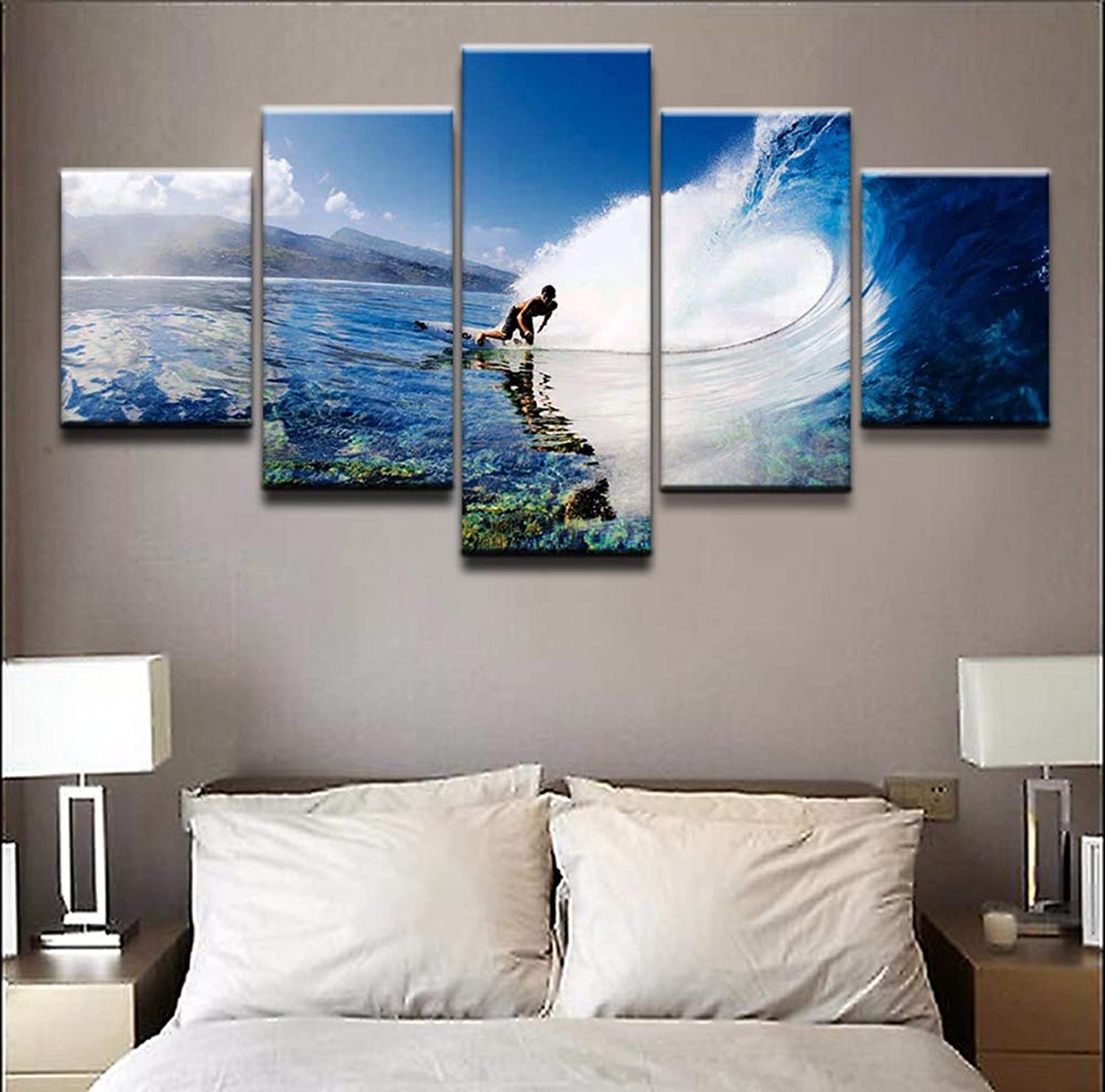 Modular Wall Art Canvas Poster HD Print 5 Pieces Sports Surfing Painting Abstract Pictures Home Decorative