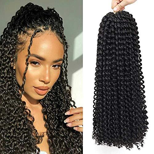 Passion Twist Crochet Hair 6Packs 18inch QingJun - Bohème Pré Boucle Synthétique Vague D'eau Synthétique Cheveux Naturels Crochet Tresses Passion Twist Cheveux pour les Femmes Noires (18inch 1B)