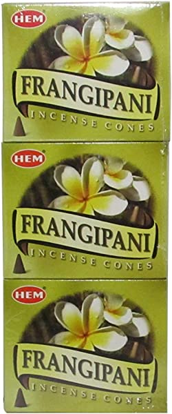 HEM Firangipani Pack Of 3 Incense Cones Boxes 10 Cones Each Traditionally Handrolled In India Best Natural Fragrance Perfect For Prayers Meditation Yoga Relaxation Peace Positivity Healing