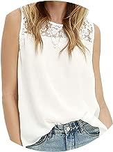 Summer Office Women Shirts Chiffon Blouse Shirt Lace Up Sleeveless White Top