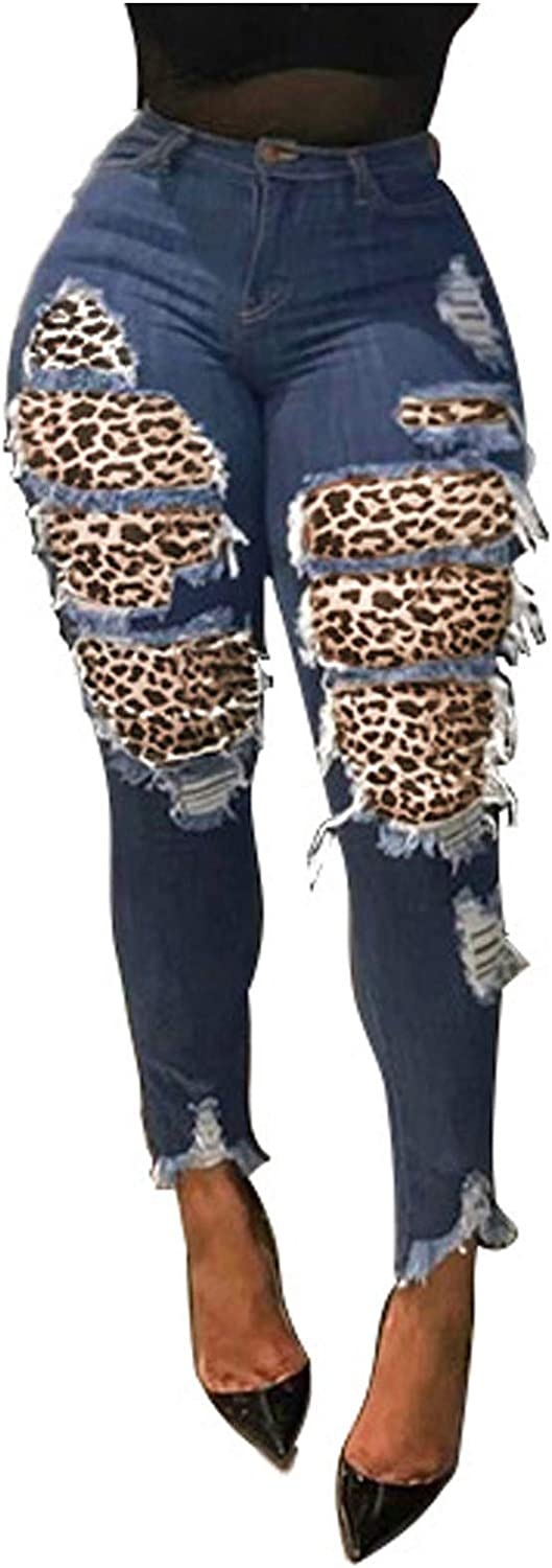 FUNEY Women's High Waisted Skinny Destroyed Ripped Button Leopard Hole Slim Denim Pants Long Stretch Pencil Jeans