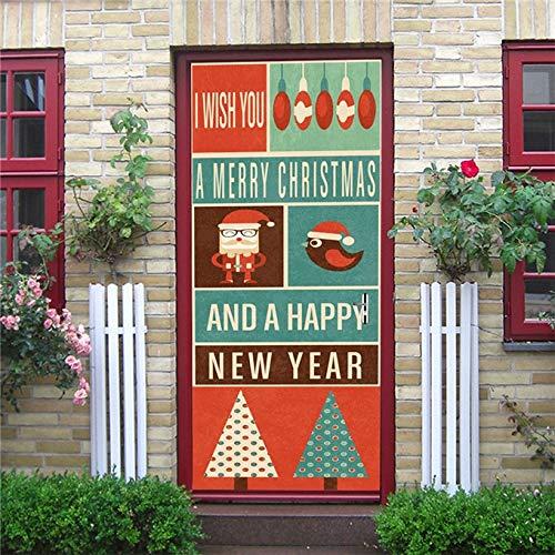 Pegatina de Puerta de muñeco de Nieve navideño para Sala de Estar, Dormitorio Infantil, Papel Tapiz Impermeable para Puertas, Mural de renovación DIY A9 95x215cm