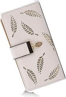 Women's Long Leather Card Holder Purse Zipper Buckle Elegant Clutch Wallet (Grey)