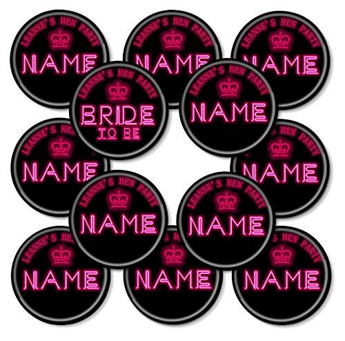 Heartstring Design Set de 12+ Personalizado Luces de neón para Despedida Pin Insignias–50mm, 12 Badges