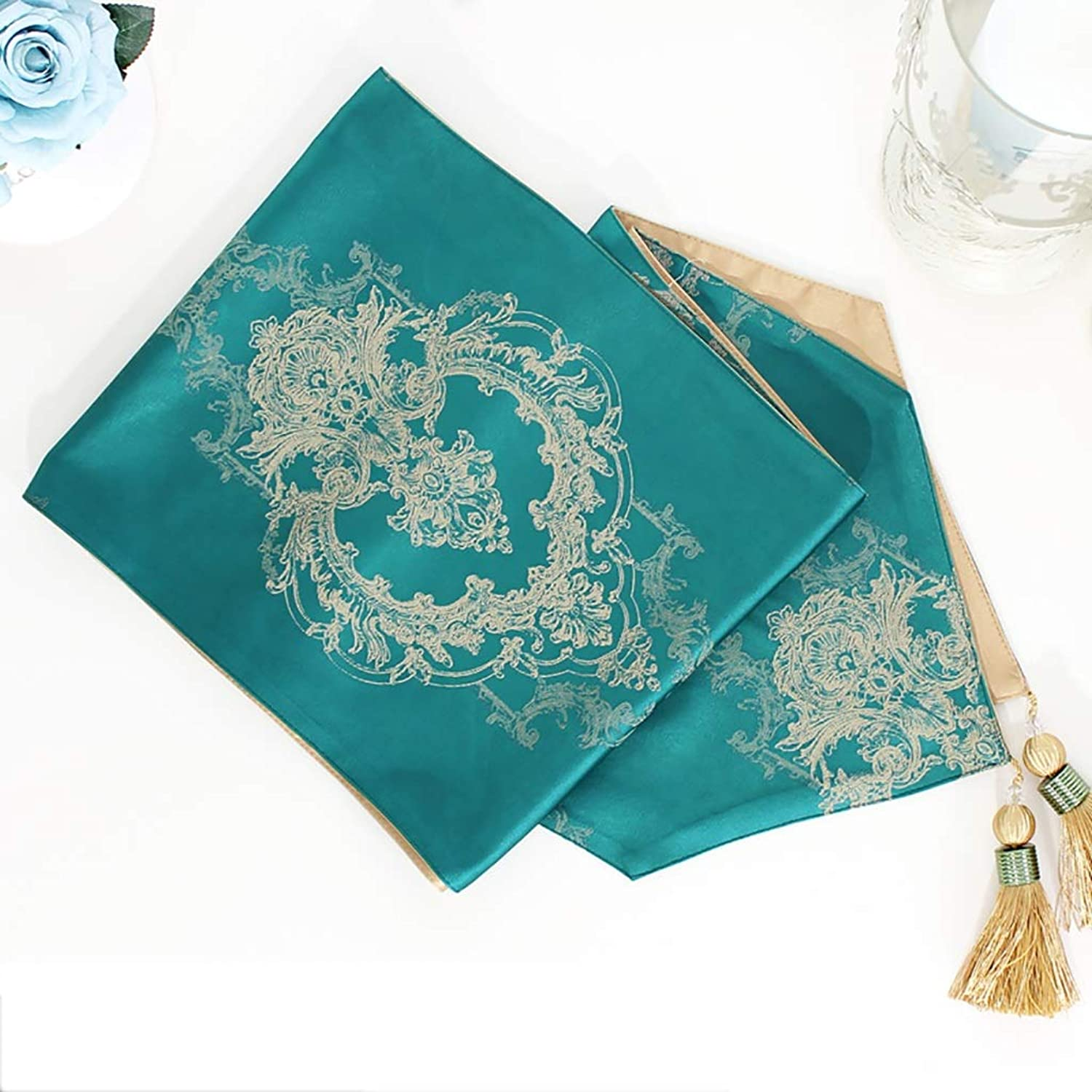 DF Beige Tassel Table Runners for Family Dinners, Gatherings, Parties, Wedding, Everyday Use (Size   30×270cm) (color   bluee, Size   30×270cm)