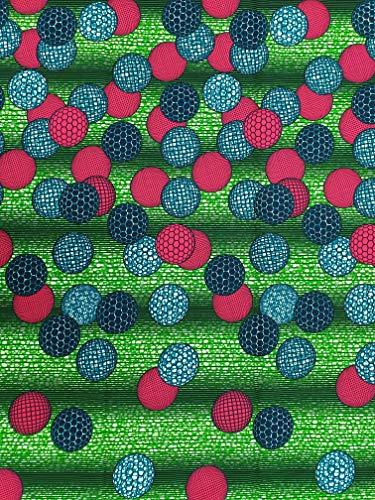 Roya Textiel Katoen Stof Geïnspireerd door Afrikaanse Mode & Stijl - Ideaal voor Naaien, Doeken Maken & Decoraties - Grootte: 5.5m Lange x 1.2m Breed - Ankara Stof Roze & Groen