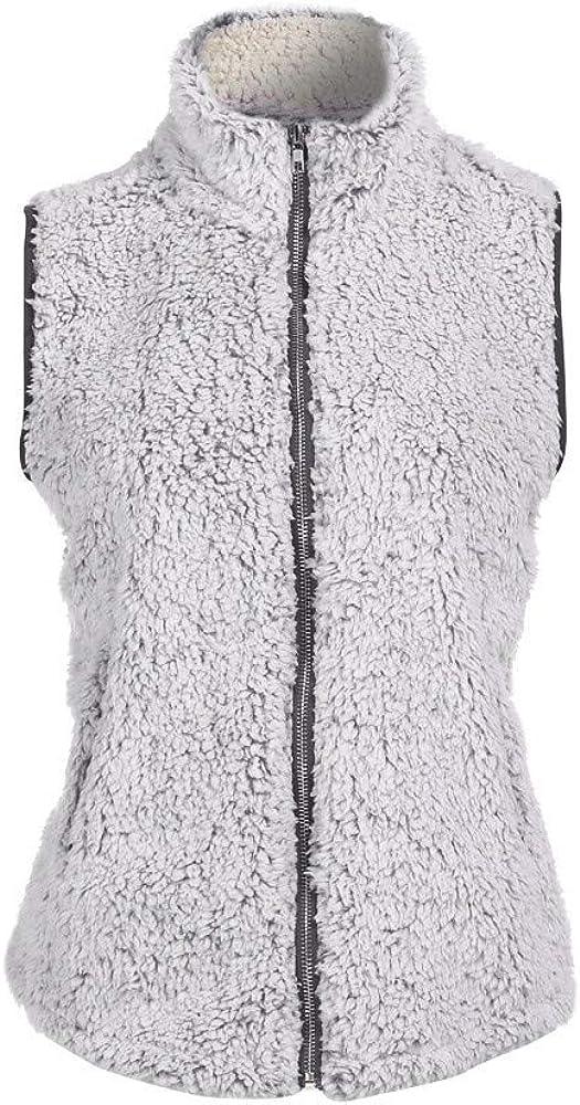 ZEFOTIM Womens Vest Winter Warm Outwear Casual Faux Fur Zip Up Sherpa Jacket
