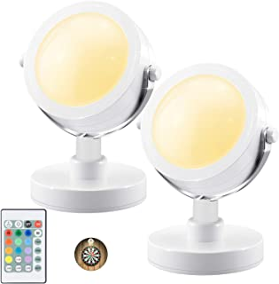 LUXSWAY Wireless Accent Lights| Indoor Spotlights with 360° Rotate Head| 12 Color Changing Up Light with Remote Control| B...